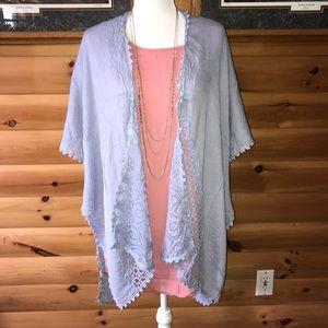 Tops - **NEW** never worn light blue kimono